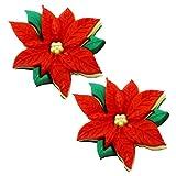 TFB–Festive rojo ponsetia flor Stud Pendientes–caja de regalo disponible