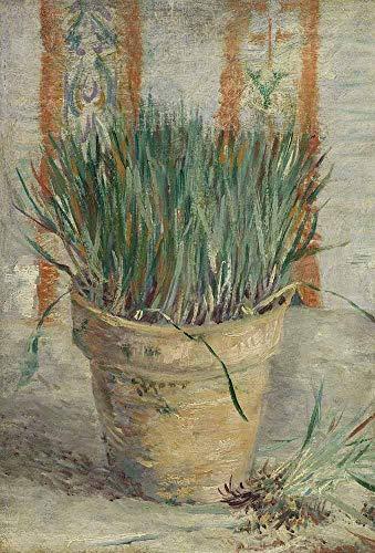 JH Lacrocon Van Gogh - Blumentopf Mit Schnittlauch Leinwandbilder Reproduktionen Gerollte 50X75 cm - Stillleben Gemälde Gedruckt Wandkunst