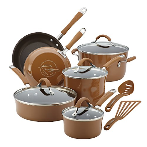 Rachael Ray 16333 Cucina Nonstick Cookware Pots and Pans Set, 12 Piece, Mushroom Brown