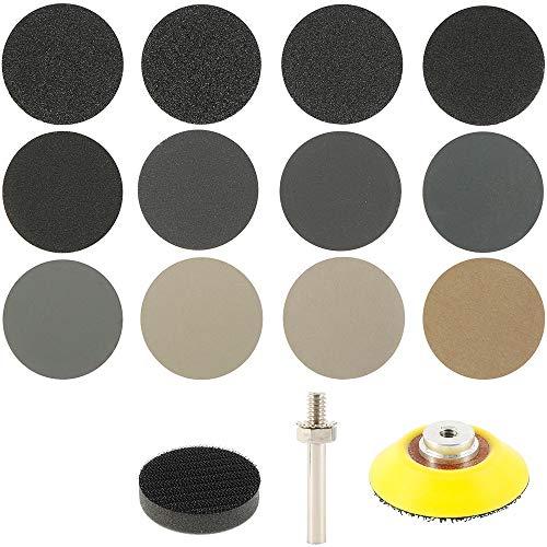 180 Piezas Discos de Lijado para Taladro de 5 Inch Discos de Lija para Lijadora de Papel Abrasivo Grano 15 X 60/80/100/150/240/400/800/1200/2000/3000/5000/10000