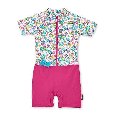 Sterntaler Mädchen Schwimmanzug mit Windeleinsatz, Kurzarm-Badeshirt und Bade-Shorts, UV-Schutz 50+, Alter: 2 - 3 Jahre, Größe: 86/92, Farbe: Weiß