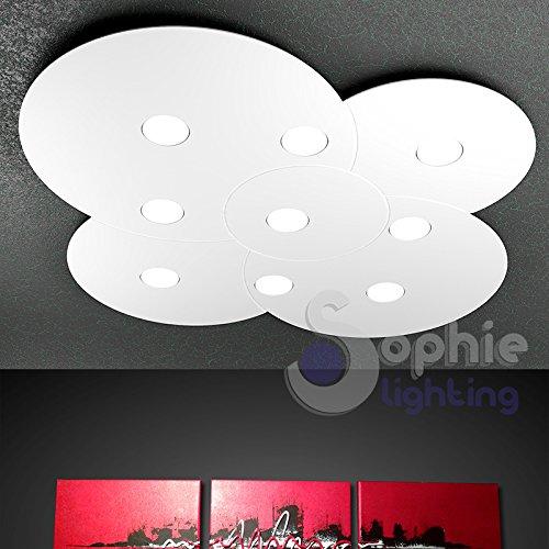 Plafonnier grand maxi LED remplaçables 81 W cercles lustre plafonnier 89 x 86 design ultra moderne nuage hauteur slim 3,3 cm élégant minimaliste acier blanc séjour toit bas salle de bain salon disk PL9 SOPHIE LIGHTING