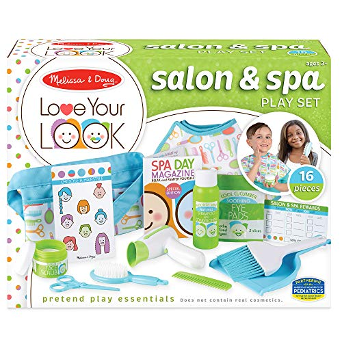 Melissa & Doug Love Your Look Salon & Spa Play Set – 16 Pieces for Pretend Toy Hair and Face Care (No Real Cosmetics)