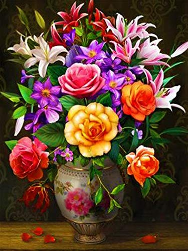 Flor simple rhinestone flor de lirio mosaico bordado rhinestone peonía flor punto de cruz hecho a mano pintura de diamante A7 60x80cm