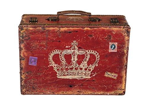 Truhe Kiste SJ 1287 Koffer, Kofferset, Holztruhe mit edlem Leder bezogen Größe XL Rot 36cm