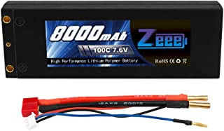 Zeee 2S Lipo Battery 7.6V 100C 8000mAh High-Voltage Hardcase RC Lipo Batteries with Dean-Style T Connector for RC Vehicles Car,Trucks,Boats
