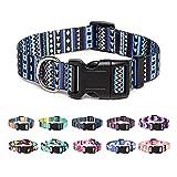 Suredoo Collar Perro, Ajustable y Resistente con Patrones de Moda, Collar Nylon Cómodos para Perros Pequeños Medianos Grandes, Cachorros (M, Azul)