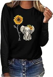 ⭐ Women's Blouse,Women's Printed Casual Long Sleeve Blouses Sunflower+Elephant Print Top Plus Size T-Shirt
