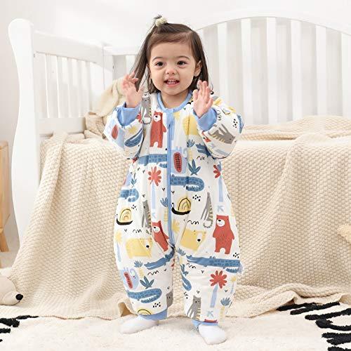 Baby Schlafsack mit Beinen Warm gefüttert winter kinder schlafsack abnehmbaren Ärmeln,Junge Mädchen Unisex Schlafanzug (Red Bear,18-36 Monate(baby height 85-95cm)) - 3