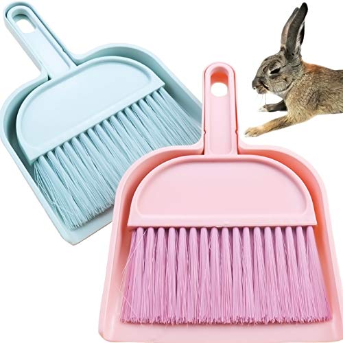 YG_Oline 2 Sets Cage Cleaner Mini Dustpan and Brush Set Cleaning Tool for Small Animal Waste, Guinea Pigs, Hamsters, Chinchillas, Rabbit, Reptiles, Hedgehog and etc. Green and Pink