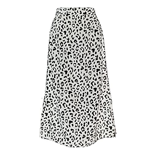 WZXHNYYZYQ Spring and Summer Temperament Women's Leopard Print Split Skirt Zipper High Waist Mid-Length Skirt White