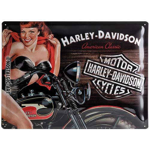 Nostalgic-Art 23223, Harley-Davidson H-D Biker Babe Red, Blechschild 30x40 cm, Metall, bunt, 30 x 40 x 0,2 cm
