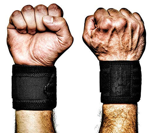 MANIMAL Wrist Wraps - Superior Wrist Support for Weightlifting, Stabilization and Style - Lifting Straps and Guards for Men & Women - Crossfit, Powerlifting, Bench Press, Gym (Black/Black)