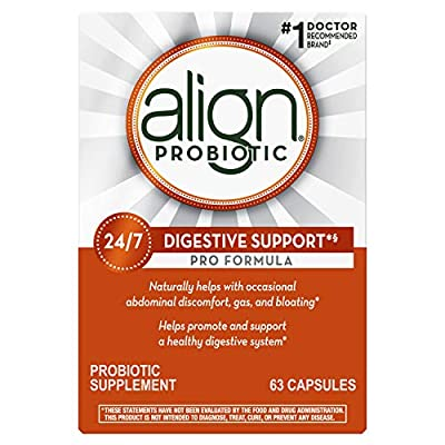Align Probiotic Pro Formula, 1 Doctor Recommended Brand, Helps Soothe Occasional Gas, Abdominal Discomfort, Bloating to Support a Healthy Digestive System 24/7, 63 Capsules