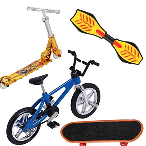 Uayasily Regalos Mini Finger Juguetes Set Patinetas Finger Bicicletas Fingerboards Mini Deportes Cumpleaños 4 Unidades