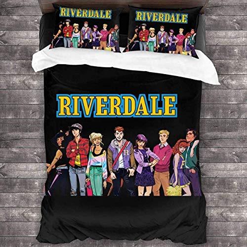 QWAS Riverdale Riverdale - Juego de cama (funda nórdica de 100% microfibra, impresión digital 3D, suave y cómoda (L3,200 x 200 cm + 50 x 75 cm x 2)