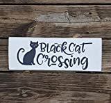 Har3646vey Schwarzes Katzen-Holzschild für Katzenliebhaber, Schwarze Katze, kreuzende Katze, Schwarze Katze, Wanddekoration, Holzschild, Rettungskatze, Katzendekoration