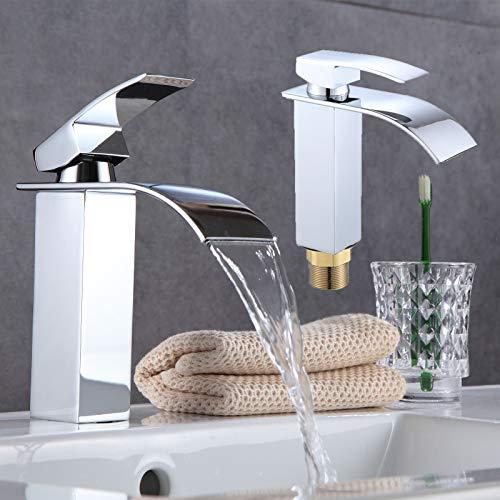 Wasserhahn Wasserfall Bad Mischbatterie Badarmatur Einhebelmischer Waschbecken Waschtisch Armatur für Badezimmer Mischbatterie Kaltes und Heißes Wasser Vorhanden, Verchromt, Moderner Stil