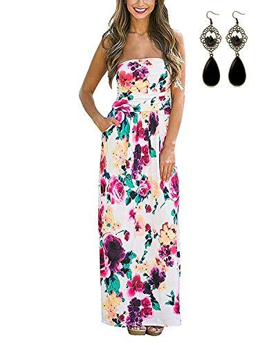 carinacoco Damen Bandeau Bustier Kleider mit Blüte Drucken Lange Sommerkleid Abendkleid Partykleid Cocktailkleid Weiß Geblümt04