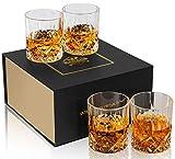 KANARS 4 Pièces Verres à Whisky, Verre a Whiskey en Cristal, Belle Boîte Cadeau, 300ml