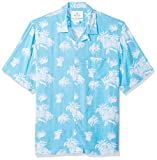 28 Palms Men's Relaxed-Fit Vintage Washed 100% Rayon Tropical Hawaiian Shirt, Blue/White Palm Tree, XX-Large