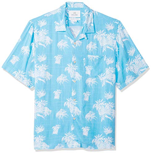 Amazon-Marke - 28 Palms Hawaii-Hemd für Herren, lockere Passform, Vintage, gewaschen, 100 % Viskose, Blue/White Palm Tree, L