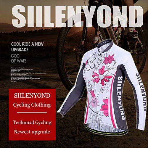 X-Labor Damen Radtrikot Set Fahrradbekleidung Fahrrad Langarm + Radhose mit Sitzpolster Herbst Winter Sportbekleidung - 3