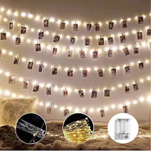 AndThere Clip Cadena de Luces 10M 100 LED Fotoclips Guirnalda de Luces para Pared Fotos de Luces 50 Pinzas para Navidad Fiesta Foto Clip Cadena de Luces para Boda Decoraciones Dormitorio