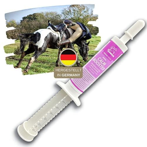 Magnesium Paste für Pferde I CALM Booster I Anti-Stress zur Beruhigung Nerven I L-Tryptophan I bei Angst Transport I Magnesiumpaste unterstützt Gelassenheit nervöse Pferd Pony hochdosiert 30ml