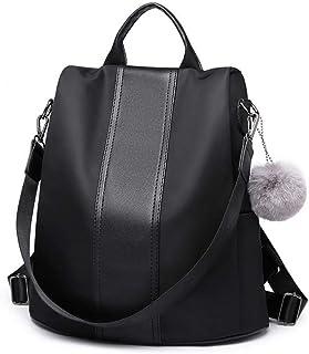 حقيبة ظهر وكتف مزدوجة من مس لولو مع قلادة بتصميم كرة بوم بوم - اسود