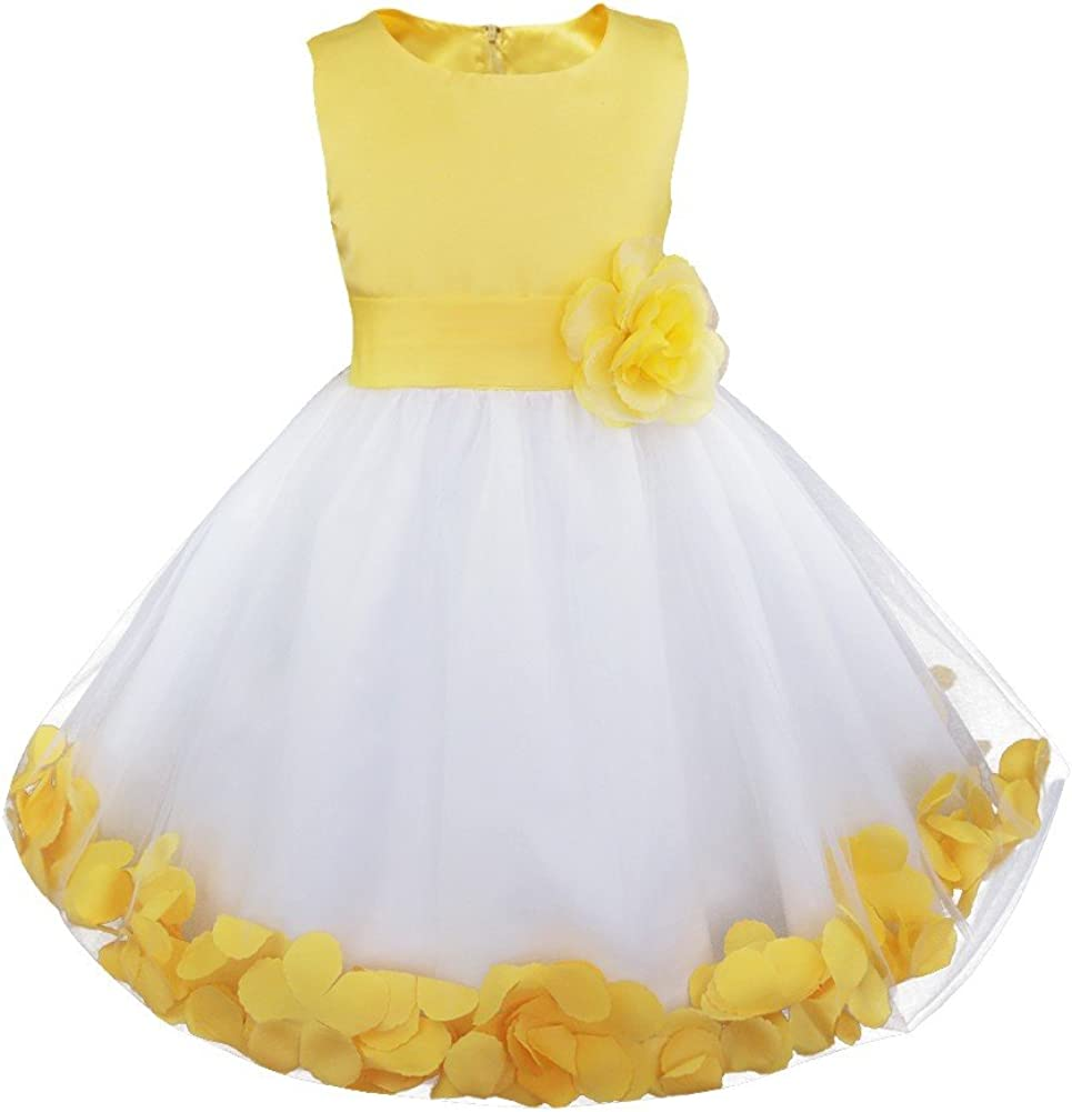 Agoky Kids Girls Petals Wedding Bridesmaid Formal Pageant Floral Tulle Flower Dress