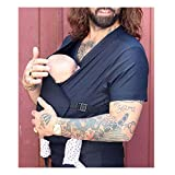 Kangaroo Baby Dad Camiseta para hombre Calmar cuello en V suave portador manos libres manga corta Tops 2 en 1 Gran Bolsillo Sling Multifunción Bebé Cómoda Ropa, Negro, XXL