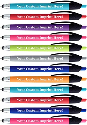12 pcs/pack Personalized Pens with Stylus - The Montage - Custom Rubberized Printed Name Pens with Black Ink - Imprinted with Logo or Message - Great Gift Ideas -FREE PERSONALIZATION (Assorted)