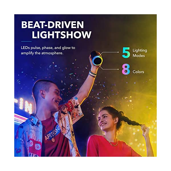 Mini Bluetooth Speaker, Outdoor Bluetooth Speaker, IPX7 Waterproof for Outdoor Parties, LED Show with 360° Sound and BassUp technology 5