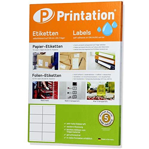 Etiketten 105 x 70 mm WETTERFEST weiß auf DIN A4 Bogen - 2 x 4 Stück/Seite 80 Folienetiketten 105x70 selbstklebend mit Laser Drucker bedruckbar