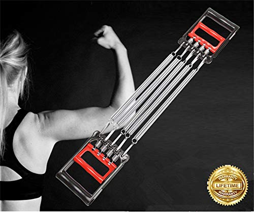 Chest Expander 5 Spring Exerciser Puller 3 in 1 Adjustable Exerciser Hand Grip Strengthener Resistance Bands Strength Trainer Gym Home Fitness Equipment for Men Women Back Arms Machine