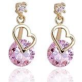 Diseño Pendientes chapado en oro Yazilind Encanto Ronda rosa claro cortada cúbico Circonita del corazón garra cuelga gota
