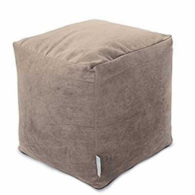 Majestic Home Goods Pearl Villa Indoor Bean Bag Ottoman Pouf Cube 17  L x 17  W x 17  H