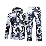 lvenyz Camuflaje impermeable mujeres hombres conjunto impermeable al aire libre capucha mujeres impermeable motocicleta pesca camfrage equipo lluvia chaqueta hombres