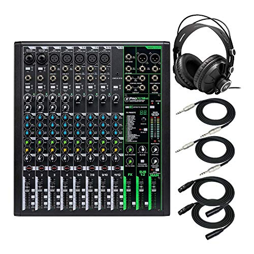 Mackie ProFX12v3 Unpowered 12-Channel FX USB Mixer Bundle - Includes Knox Gear TX-100 Closed-Back Studio Monitor Headphones, 1/4-Inch TRS Cables, and XLR Cables (6 Items)