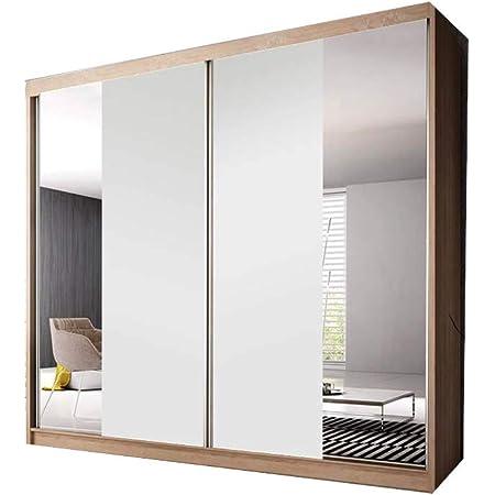 E-MEUBLES Armoire de Chambre avec 2 Portes coulissantes | Penderie (tringles) avec étagères (LxHxP): 233x218x61 Ben 38 (Sonoma/Blanc Mat+Miroir)