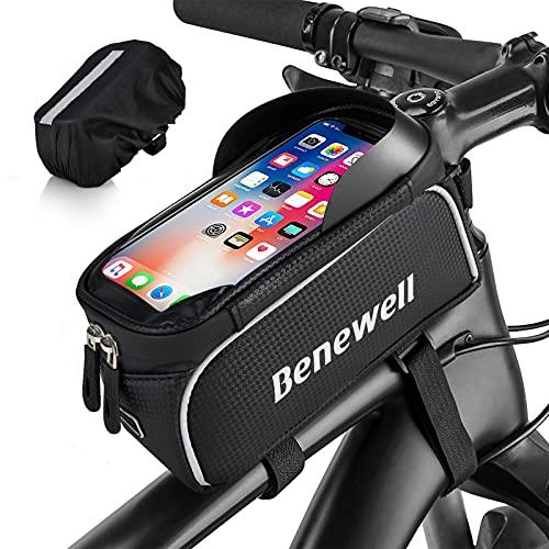 Benewell Fahrrad Rahmentasche, Wasserdicht Lenkertasche, Oberrohrtasche, Fahrradtasche Navigation Handyhalter mit TPU Touchscreen Sonnenblende Regenschutz für Smartphones unter 6,5 Zoll