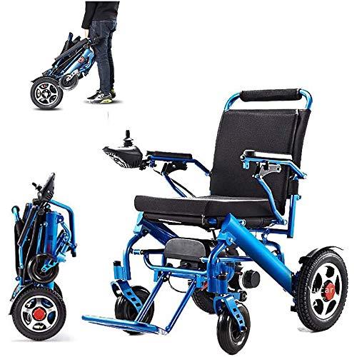 Gnohnay Silla de Ruedas Eléctrica Plegable, Ligera, con Mando a Distancia y Doble suspensión, Plegado de un botón Facilitar el Transporte, para Personas Mayores, Pacientes con Discapacidad