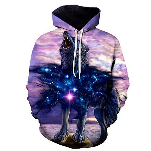 HNKPWY Wolf bedrukte sweatshirts heren hoodies grappig trainingspak 3D pullover herfst winter hoody mantel met capuchon