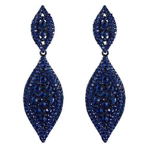 EVER FAITH Orecchini Cristallo austriaco Matrimonio Sposa Fascino 2 Foglia goccia Orecchini pendente Blu Nero-fondo