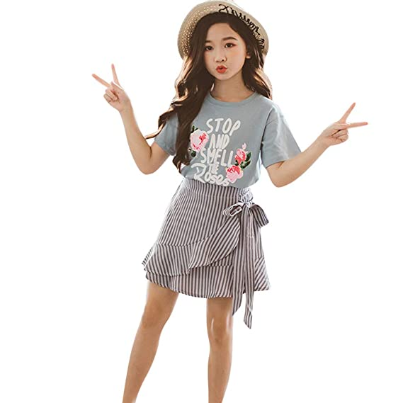 Girl with skirt image Amazon Com Girls Outfits Suits Teen Kids Letter Roses Short Sleeve T Shirt Tops Falbala Dress Skirt Suits Blue Blue 9 10years Old Clothing Shoes Jewelry