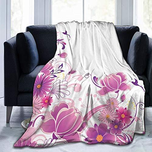 Manta mullida, rosa floreciente adorno fantasía, jardín volador, pájaros pequeños, diseño artístico, ultra suave, manta para dormitorio, cama, TV, manta para cama de 50 x 40 pulgadas