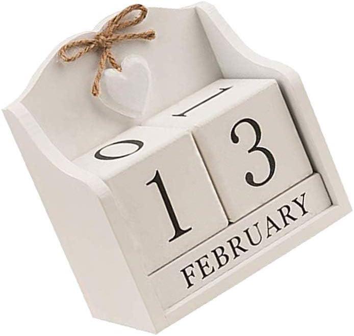 Wakauto Calendario Perpetuo in Legno con Giorni Blocchi del Calendario in Legno Calendario Perpetuo Desktop Calendario Perpetuo in Legno Vintage Calendario Perpetuo Desktop
