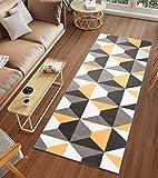 Tapiso Luxury Alfombra de Pasillo Cocina Escalera Diseño Moderno Amarillo Gris Blanco Mosaico Fina por Metros 60 x 160 cm
