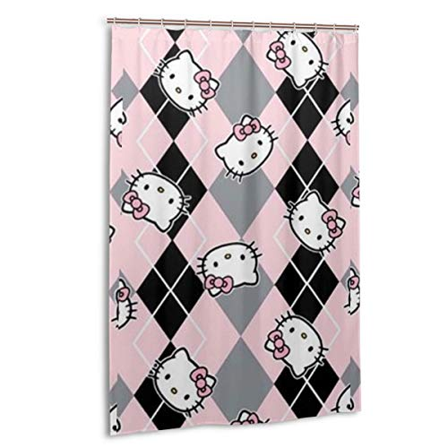 Lxjjj Stall Fabric Shower Curtains,Fashion Hello Kitty in Black and Pink Printed Bathroom Curtain,48 by 72 Inch